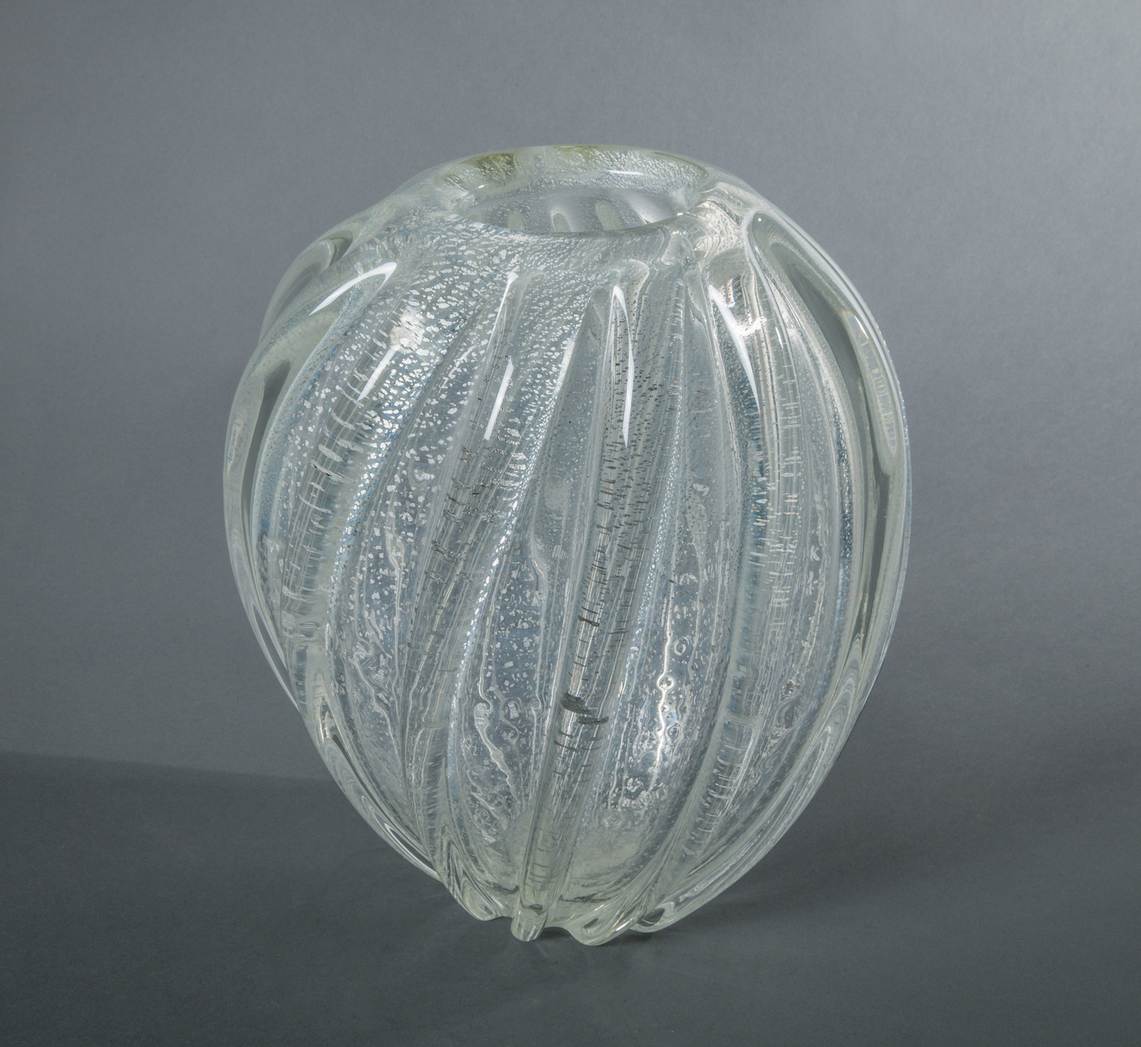 seguso, murano, glass vase