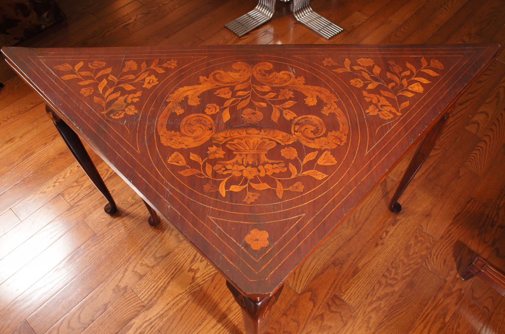 Dutch Rococo Style Mahogany and  Fruitwood Marquetry Games Table