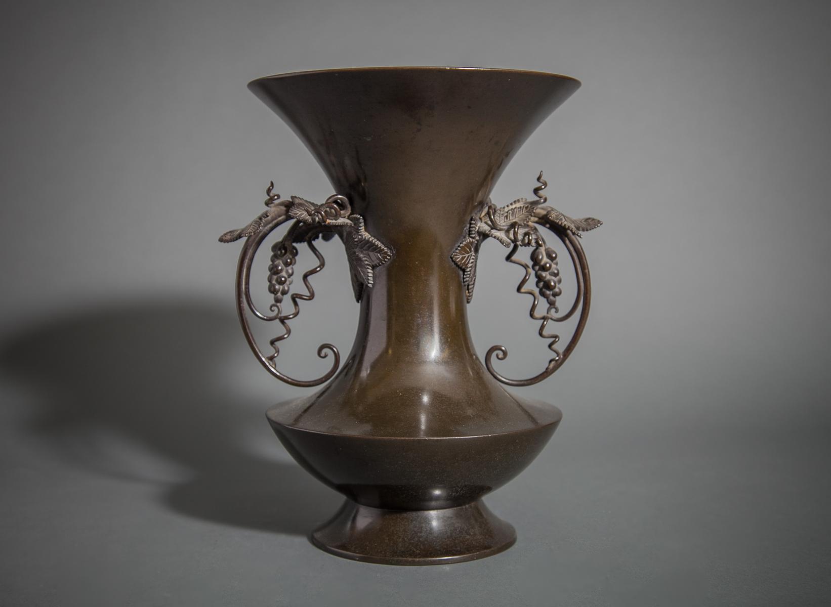 19th Century Superior Quality Japanese Bronze Vase With Grape Vine Handles