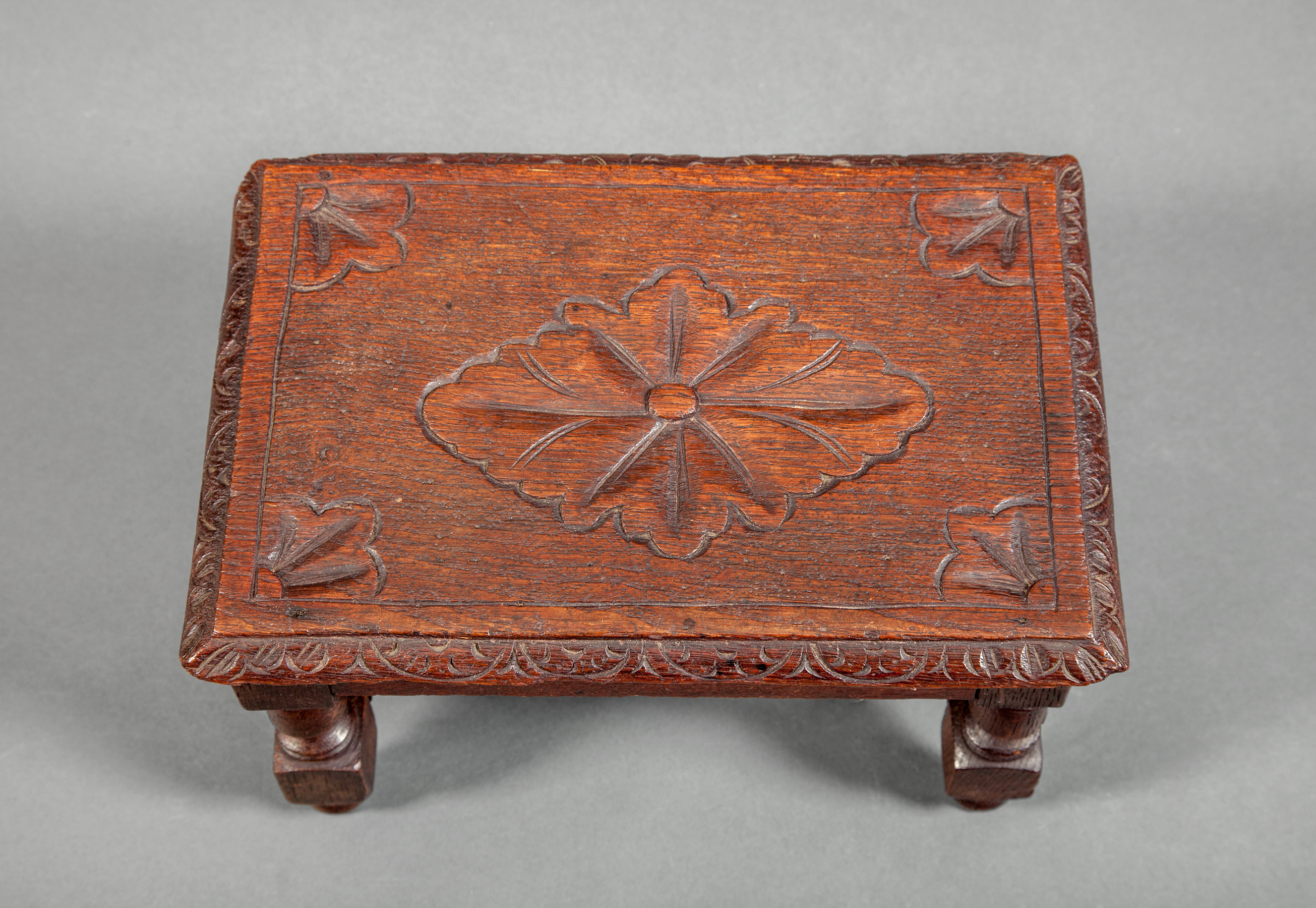English Oak Miniature Stool with Flower Design on Top