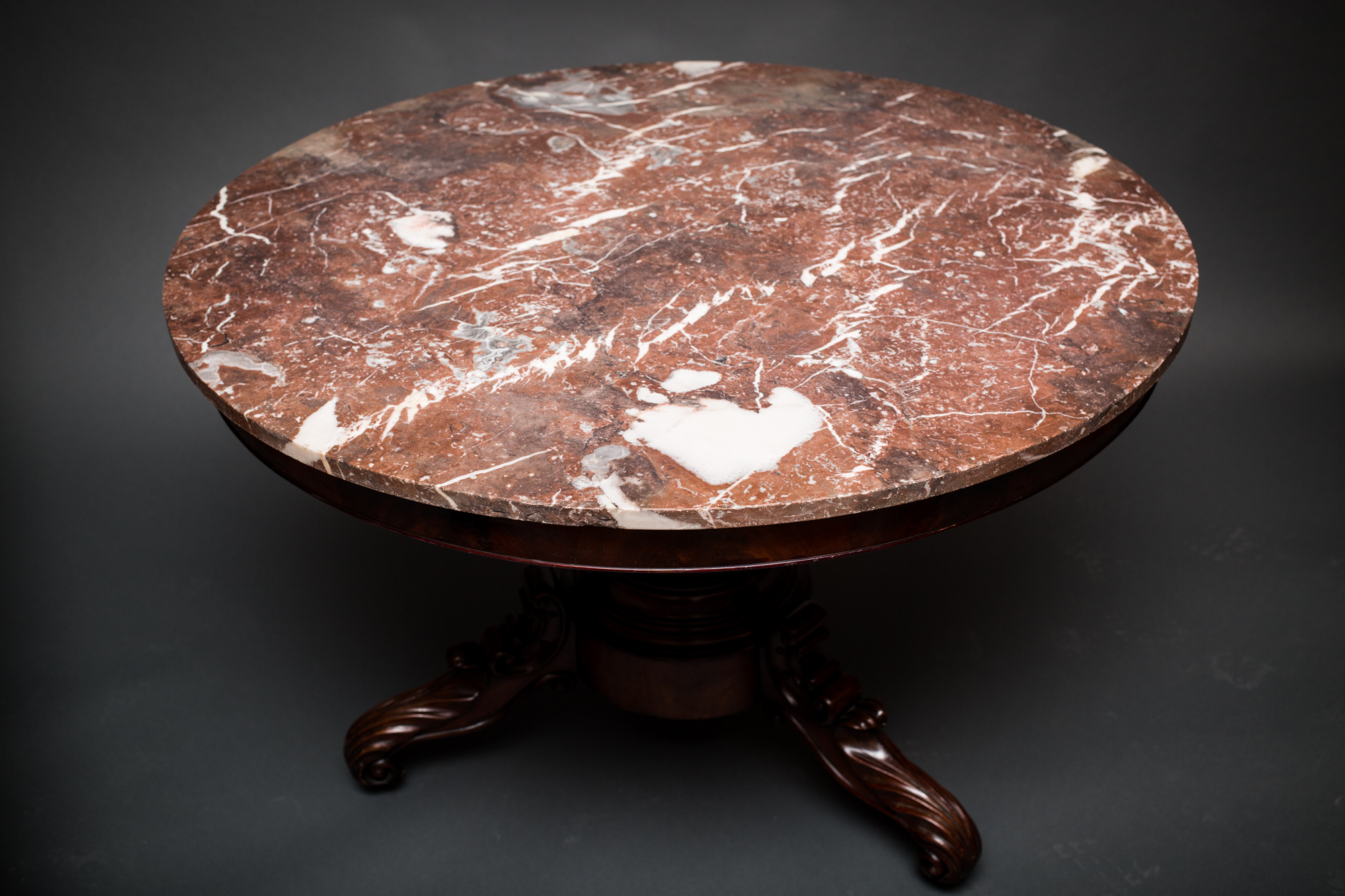French Center Hall Louis Philippe Marble Top Table
