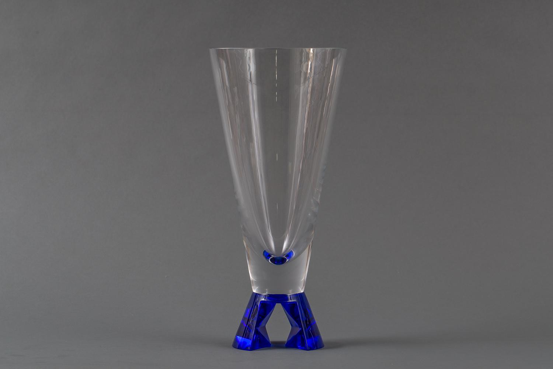 French Cobalt Based Clear Glass Vase