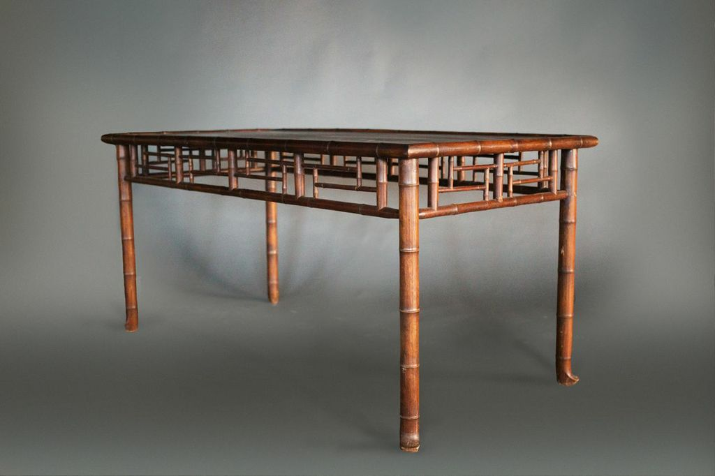 French Faux Bamboo Dining Table