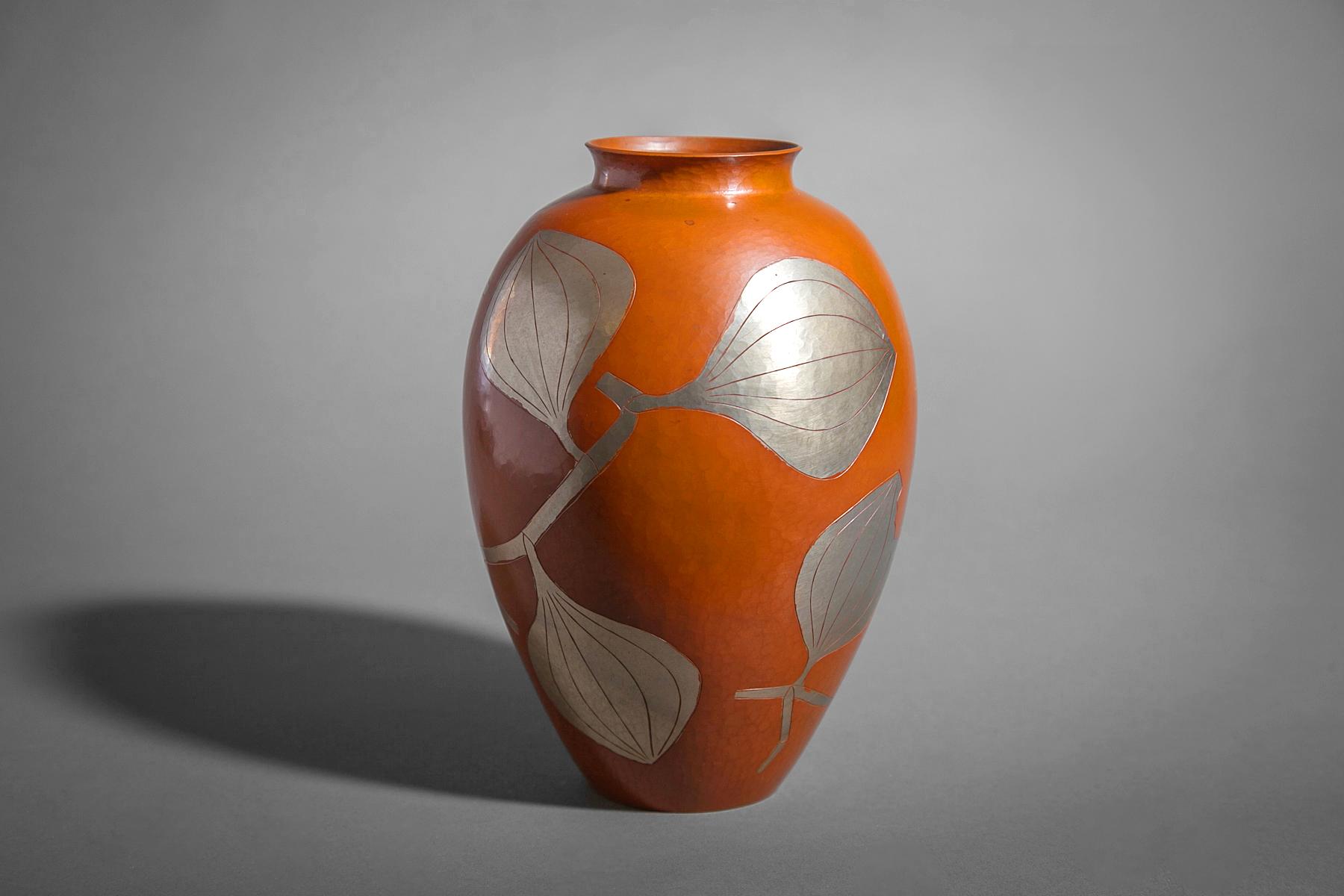 Hammered Copper Vase with Silver Leaves Design