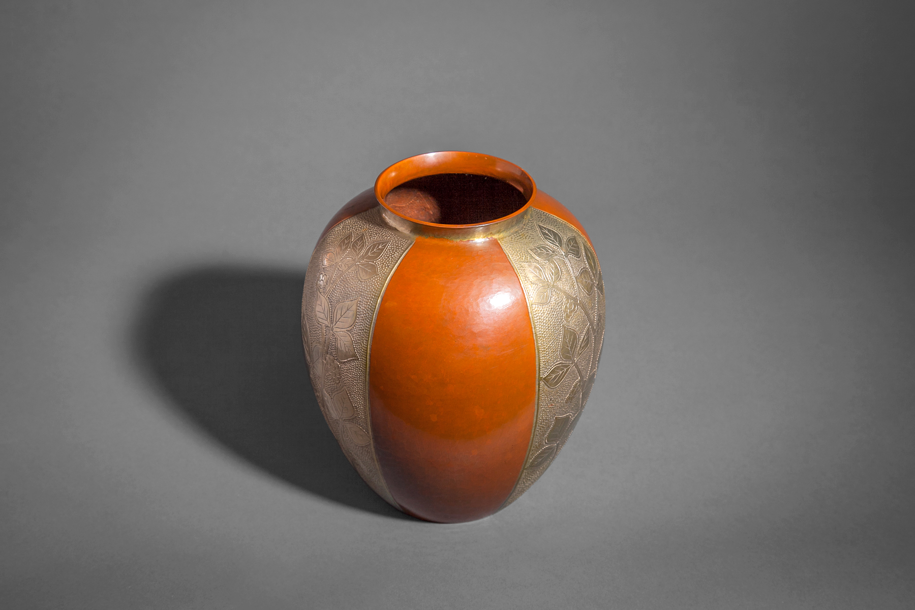 Hammered Copper Vase with Alternating Panels in Silver