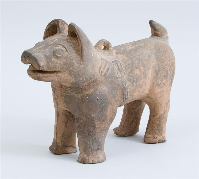 Han Grey Pottery Figure of a Standing Dog