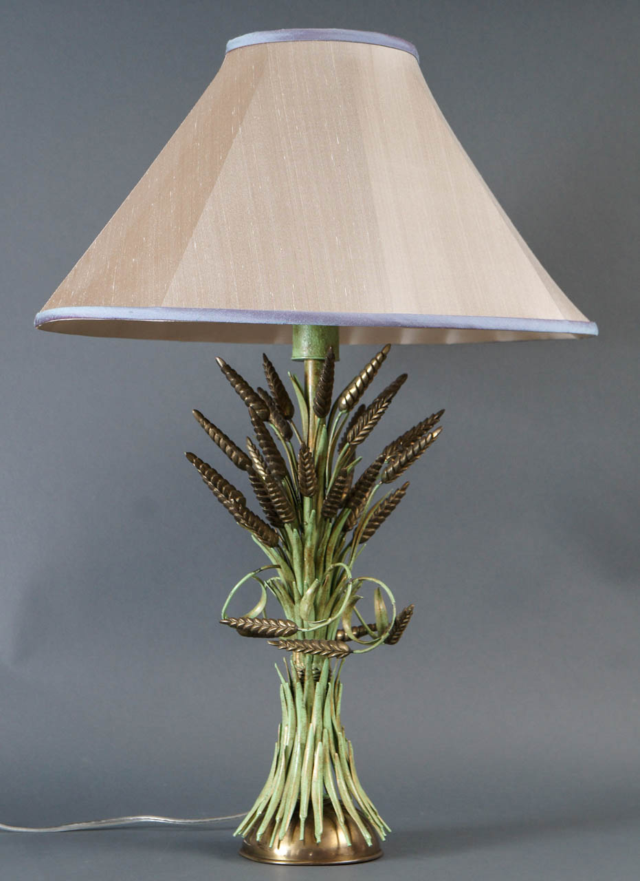 Italian Brass and Green Painted Tole Wheat Sheaf Lamp