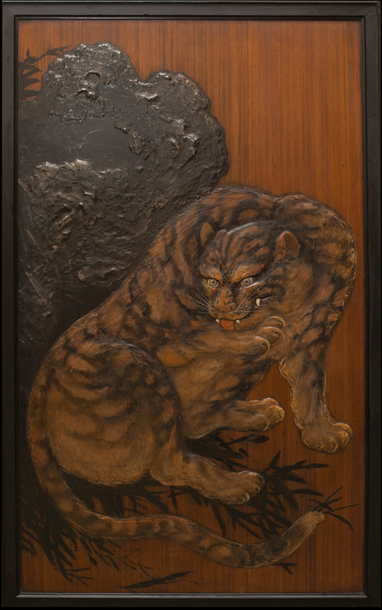 Rare 19th Century Japanese Raised Lacquer Tiger with Glass Eyes on Sugi Wood
