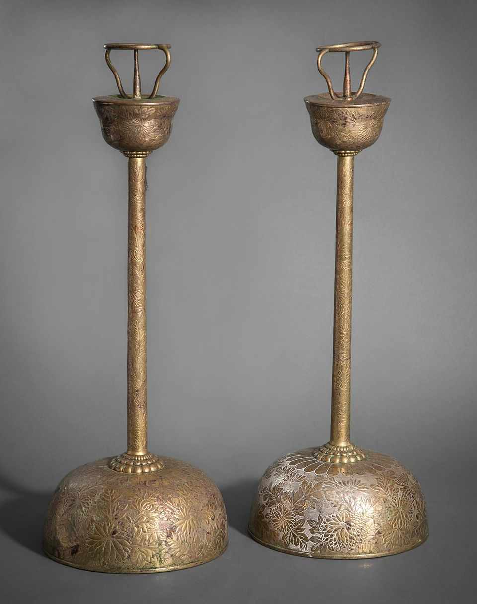 Pair of Silver and Copper Candlesticks