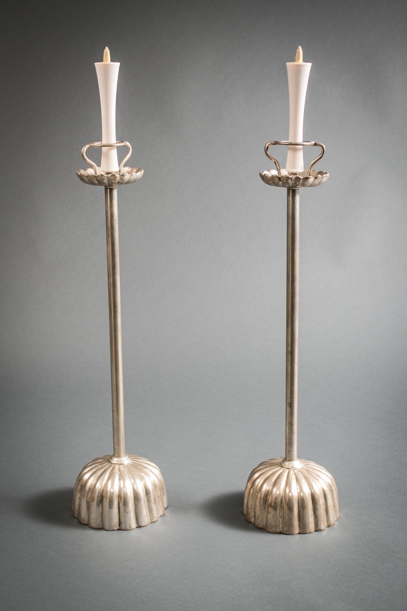 Pair of Modern Japanese Silvered Bronze Candlesticks