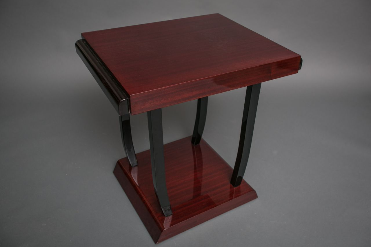 Art Deco Mahogany Lacquer Table with Ebonized Legs
