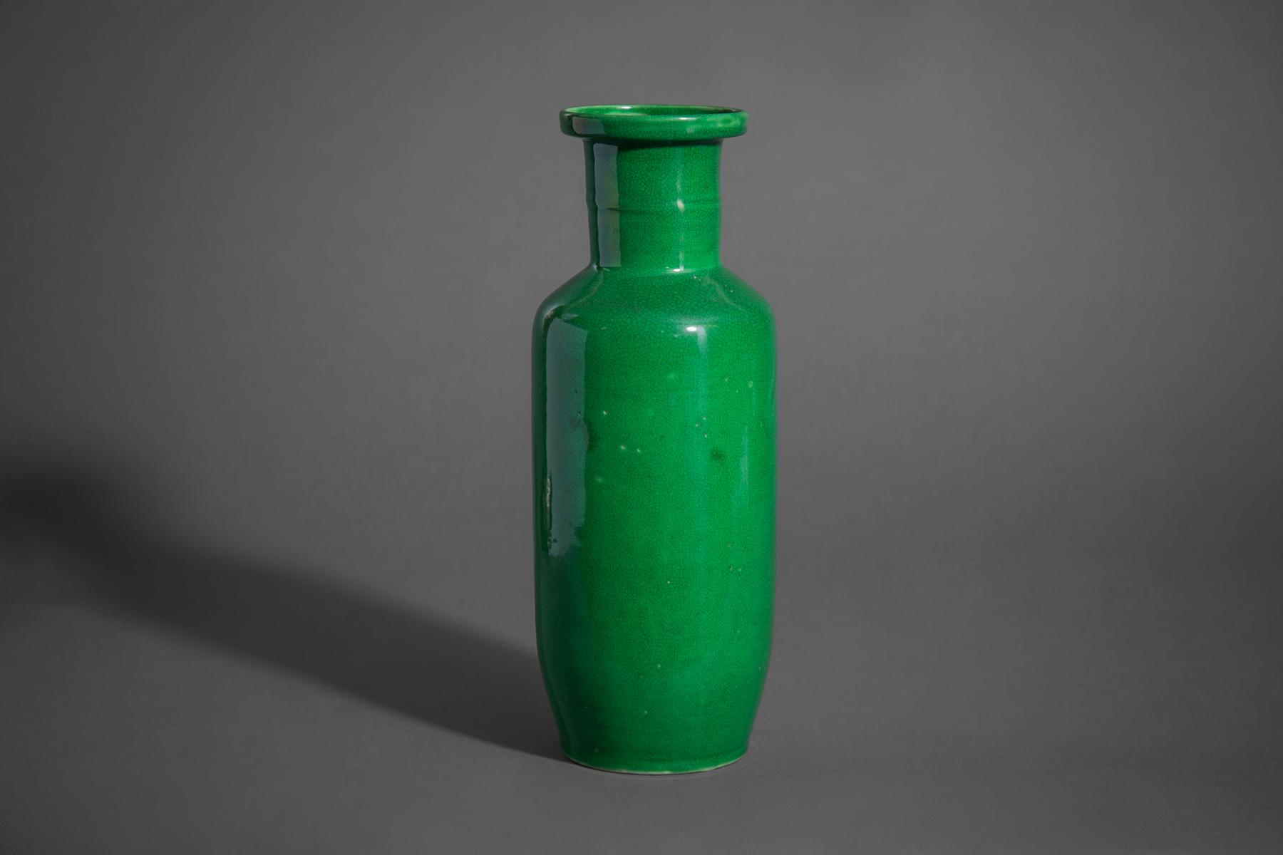 Antique Chinese Brilliant Green Vase
