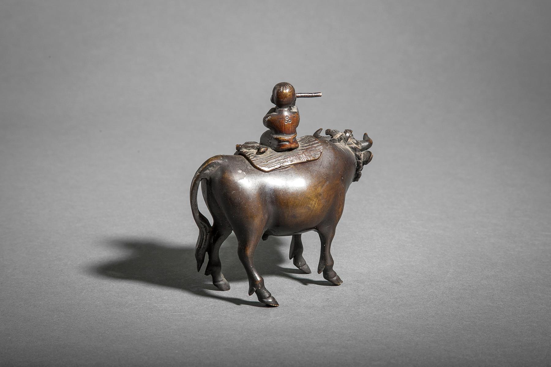 18th Century Bronze Censer of a Boy Riding a Bull