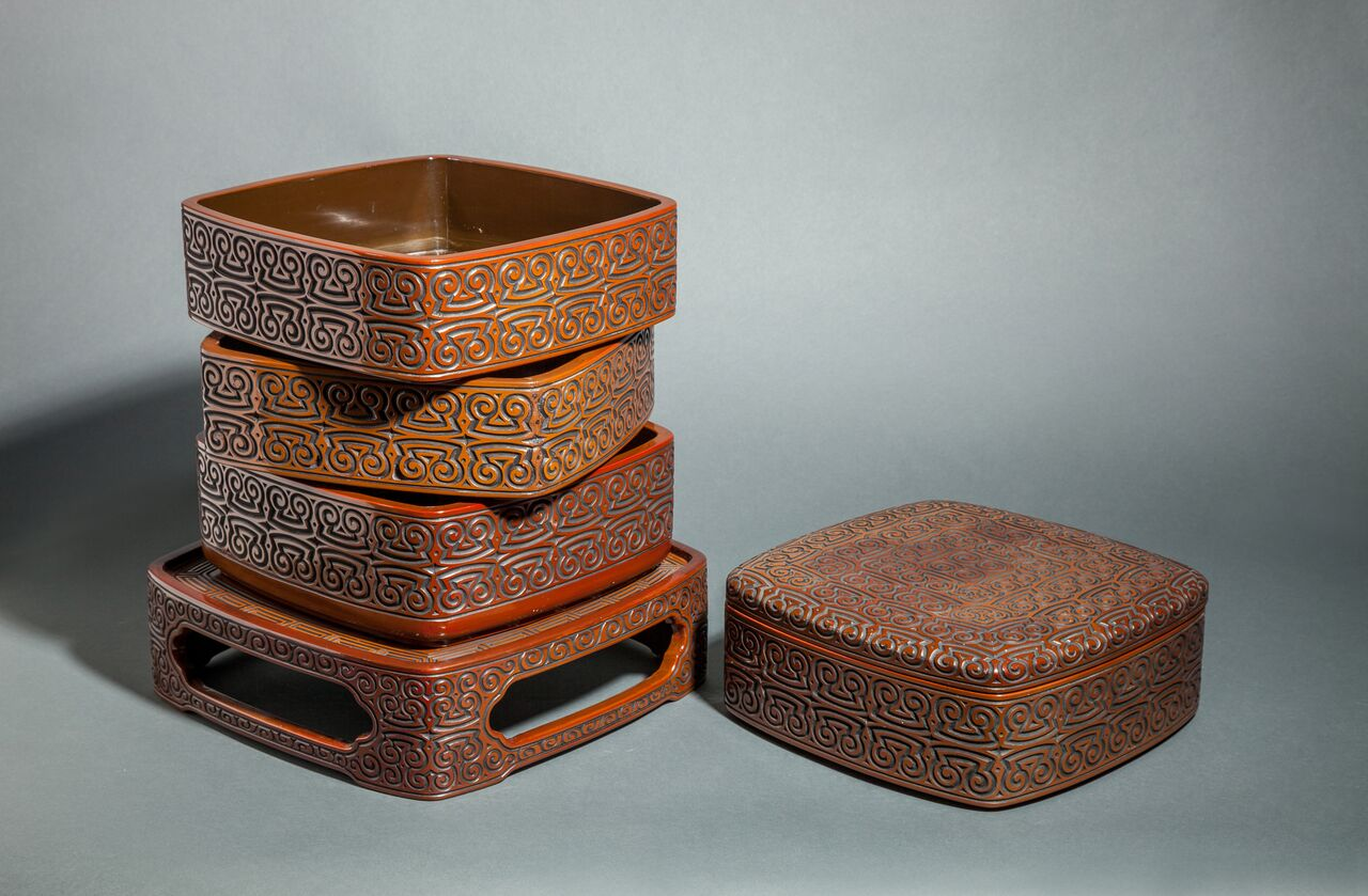 Antique Japanese Dramatically Carved and Lacquered Stack Box on Stand