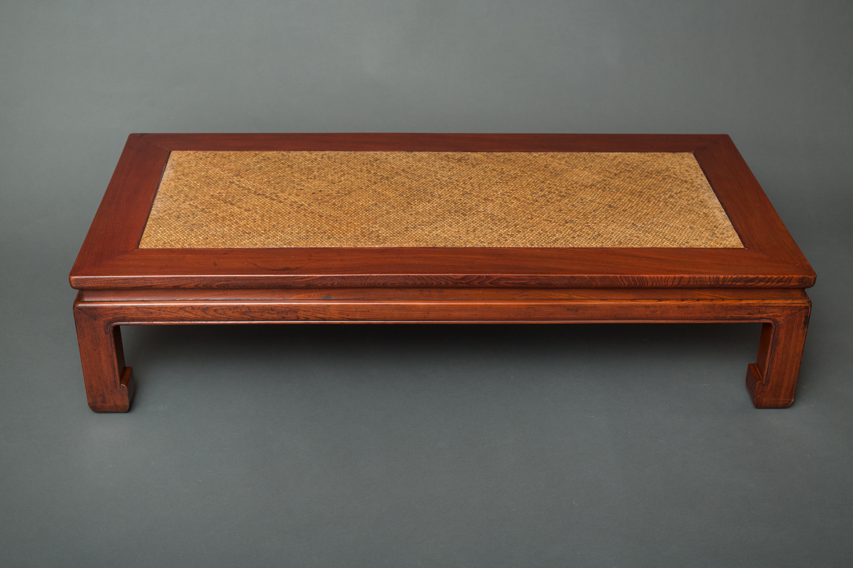 Japanese Keyaki Wood Table with Woven Bamboo Top