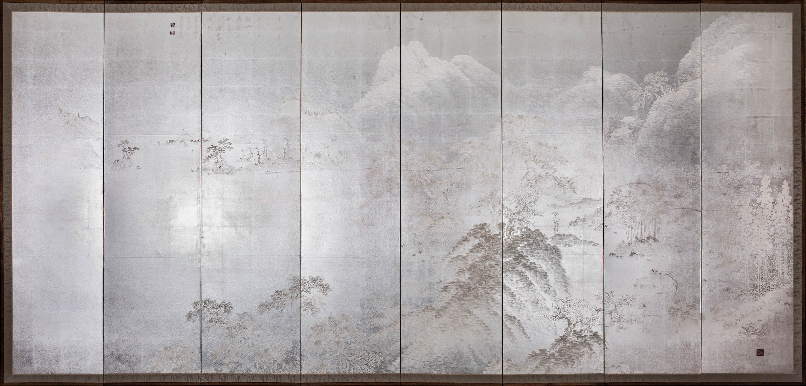 Japanese Eight Panel Screen: Modern Chinese School Coastal Mountain Landscape – B