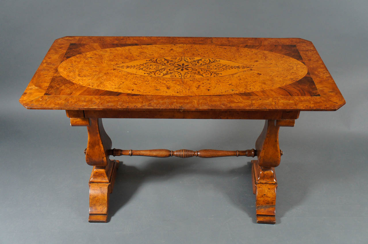 Biedermeier Desk with Burl and Inlay