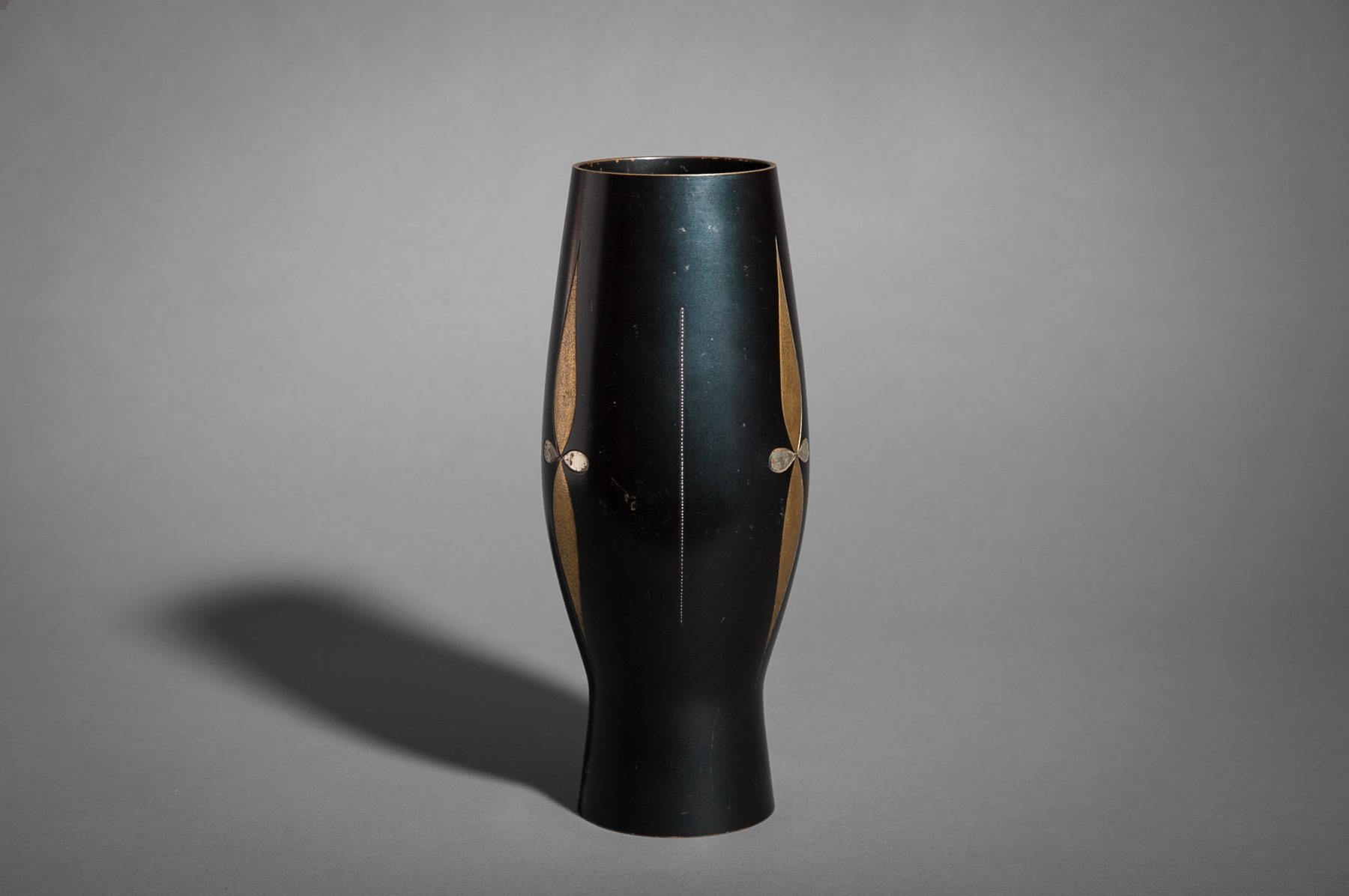 Bronze Vase with Inlaid Silver and Gilded Silver Flower Design.