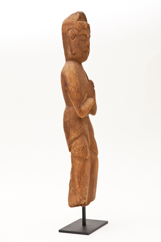 Buddhist Carved Wood Sculpture of Bosatsu