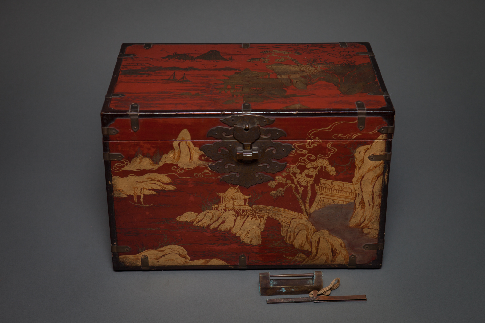 Chinese 19th Century Red Lacquer Treasure Box