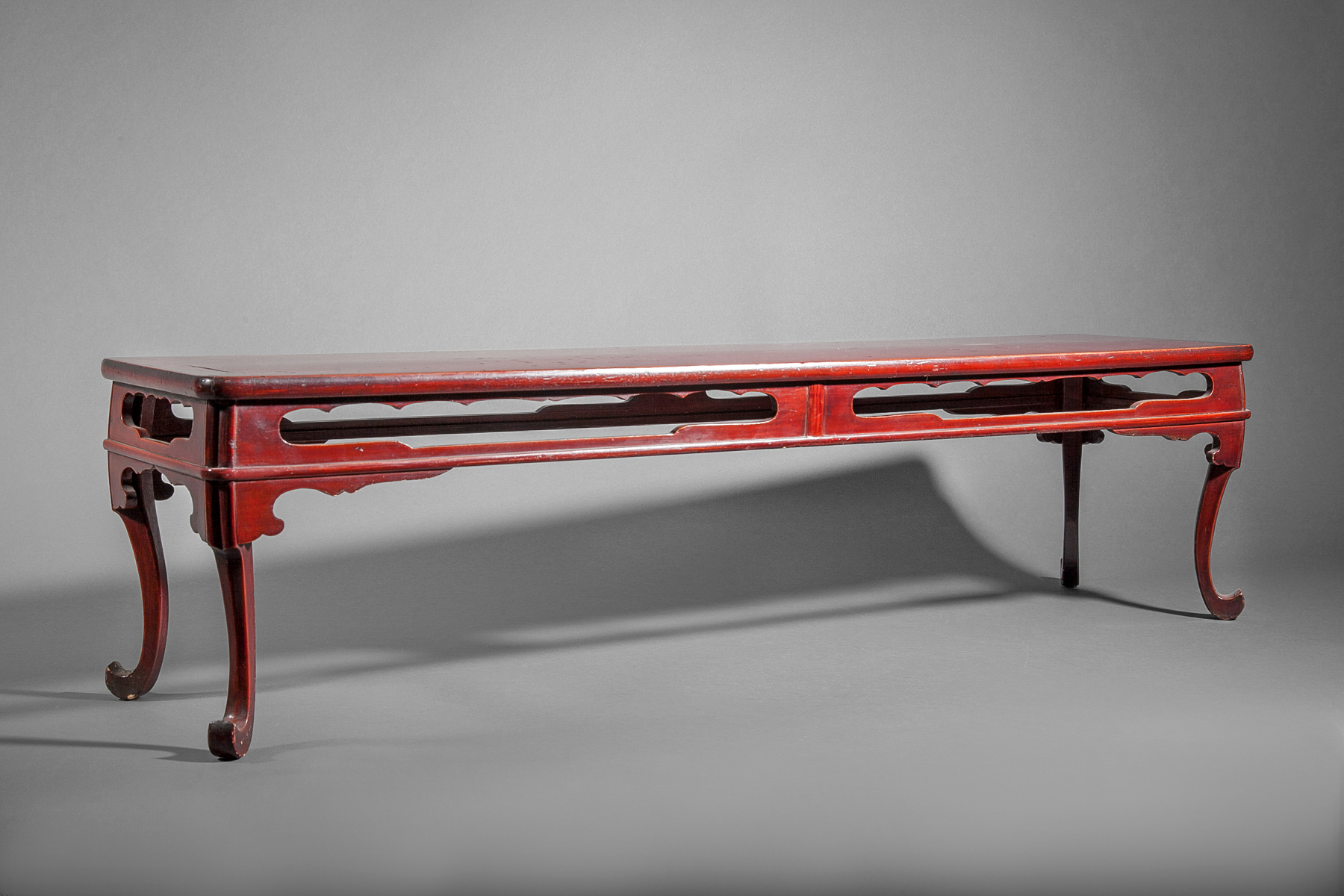 Red Lacquer and Wood Presentation Table