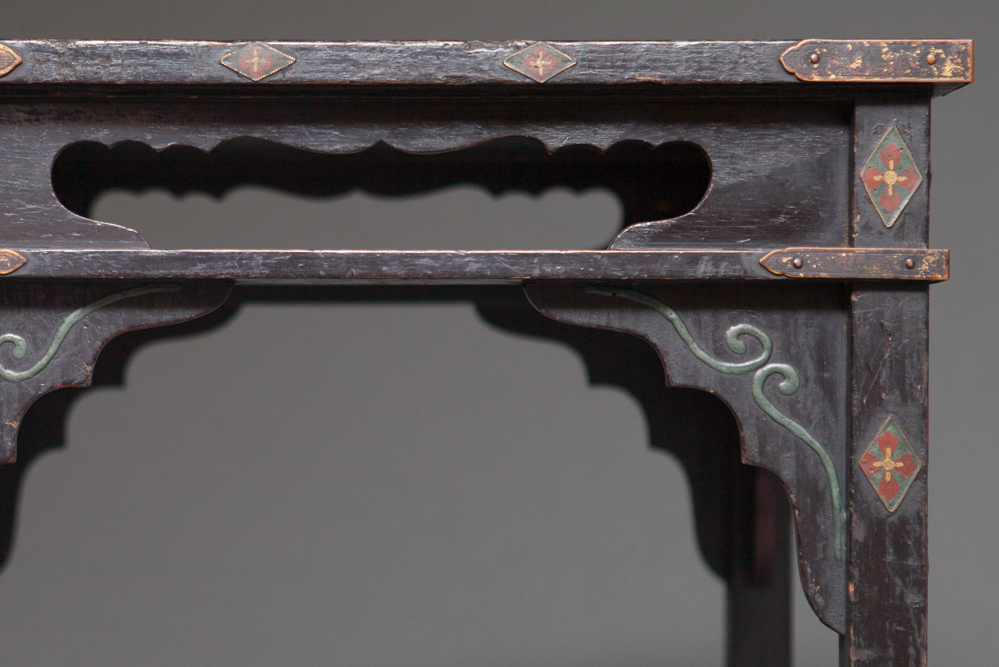 Japanese 18th Century Black Lacquer Offering Table with Peonies