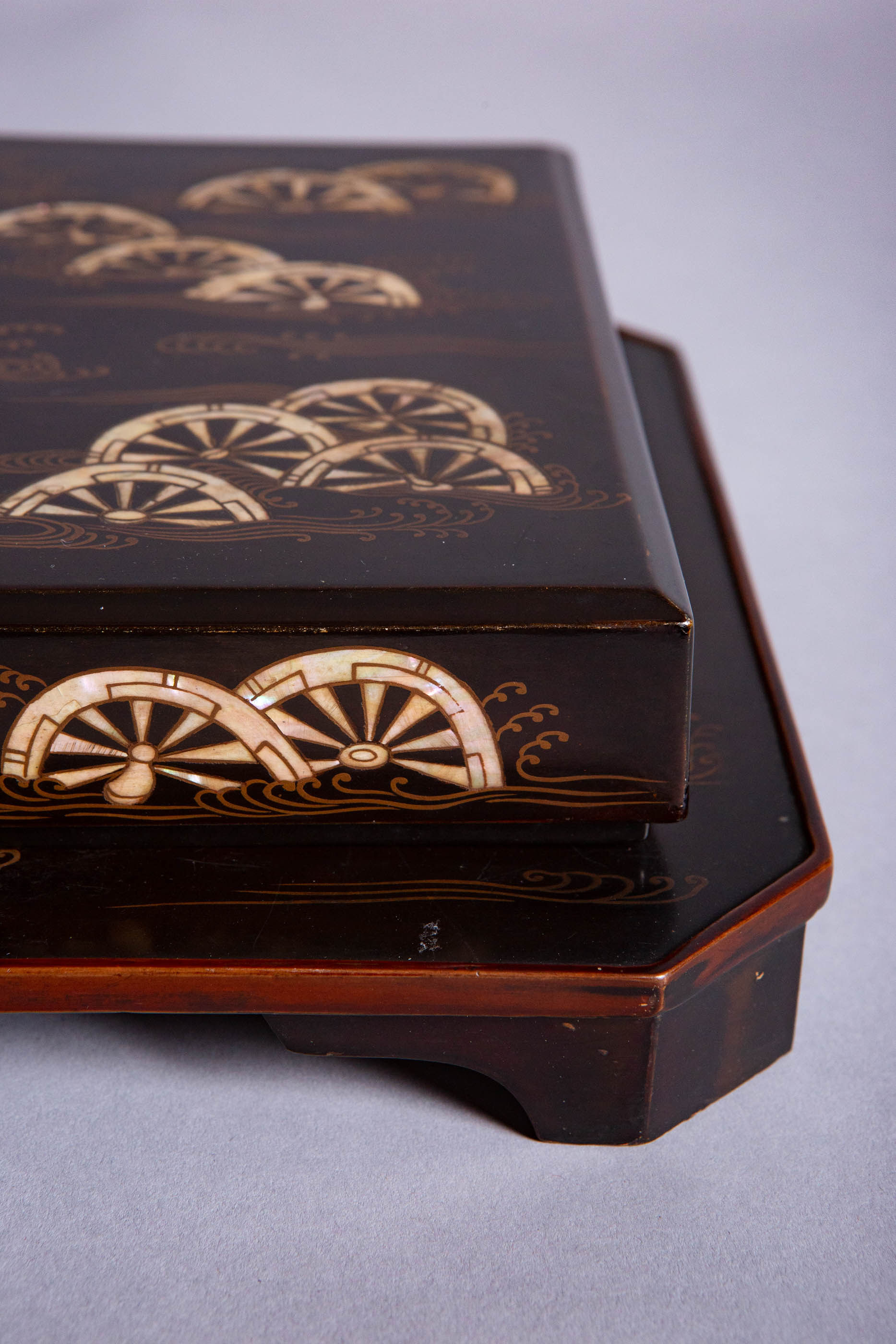 Japanese 18th Century Lacquer Writing Box and Tray Set