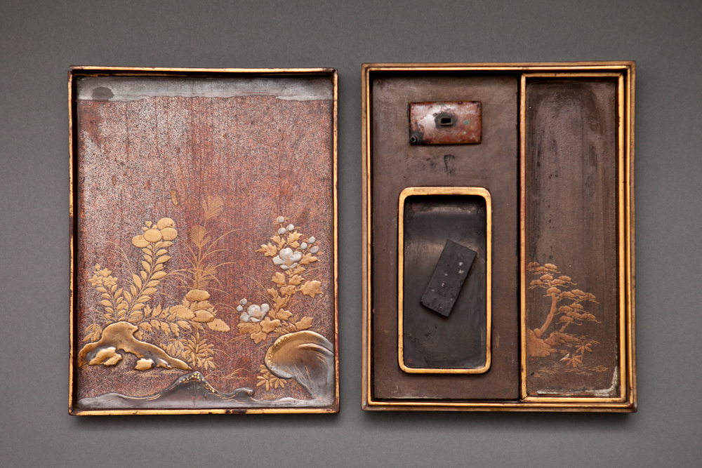 Japanese 18th Century Lacquer Writing Box with Intricate Moonlit Landscape Design
