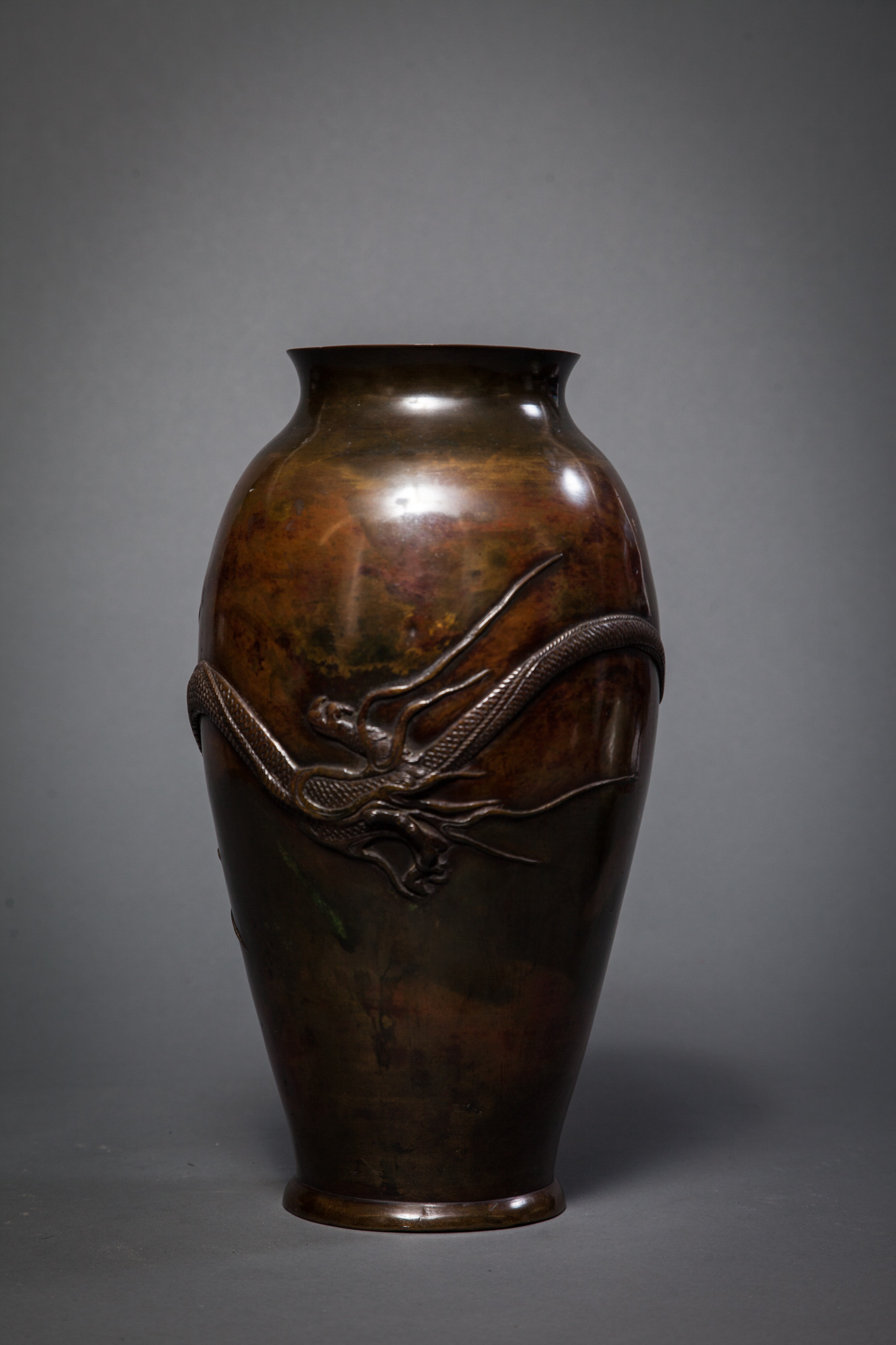 Japanese 19th Century Bronze Vase with Raised Dragon Design