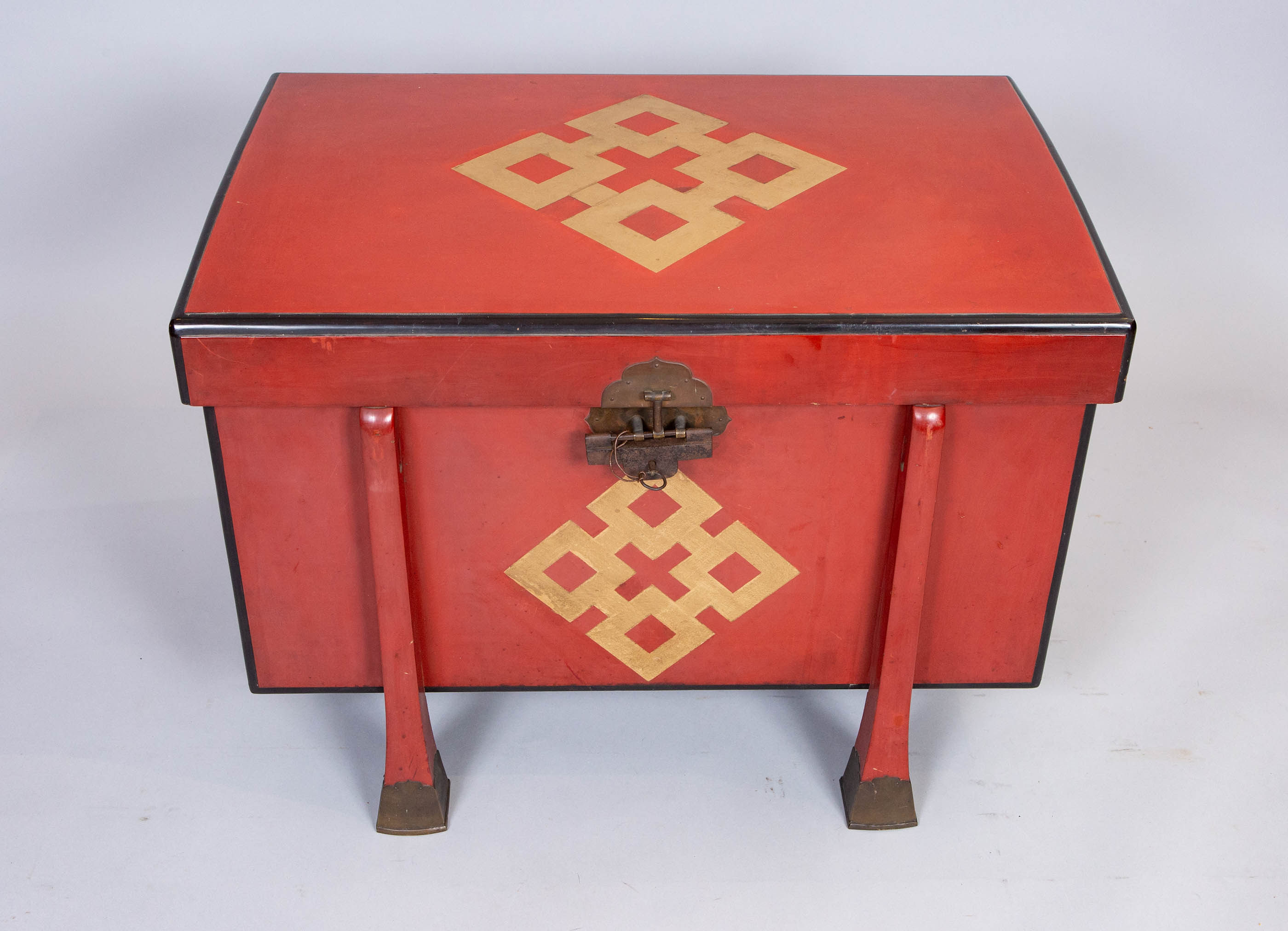 Japanese 19th Century Red Lacquer Armor Box
