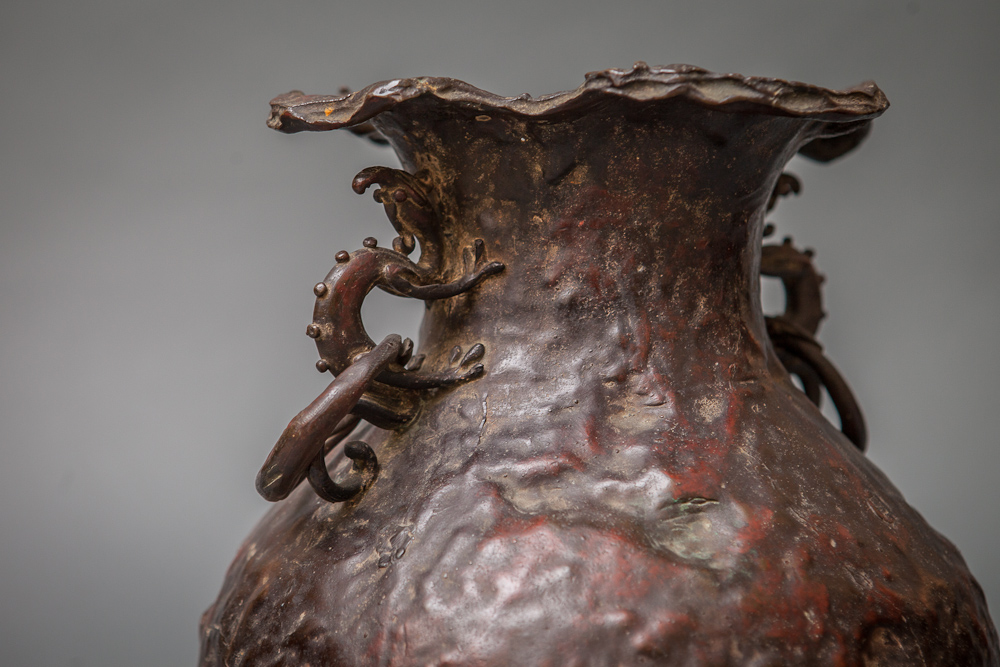 Japanese Antique Cast Bronze Vase with Dragon Handles