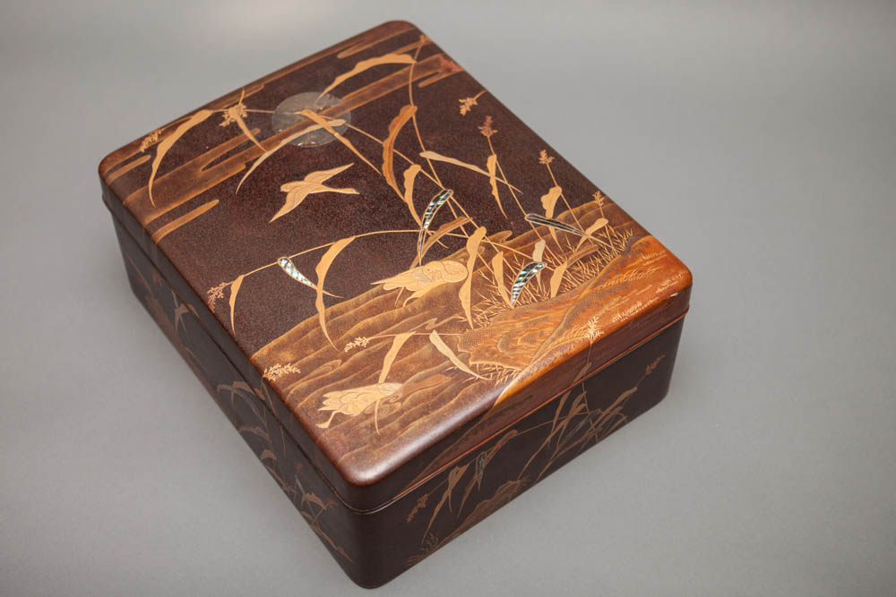 Japanese Antique Dark Brown Lacquer Document Box