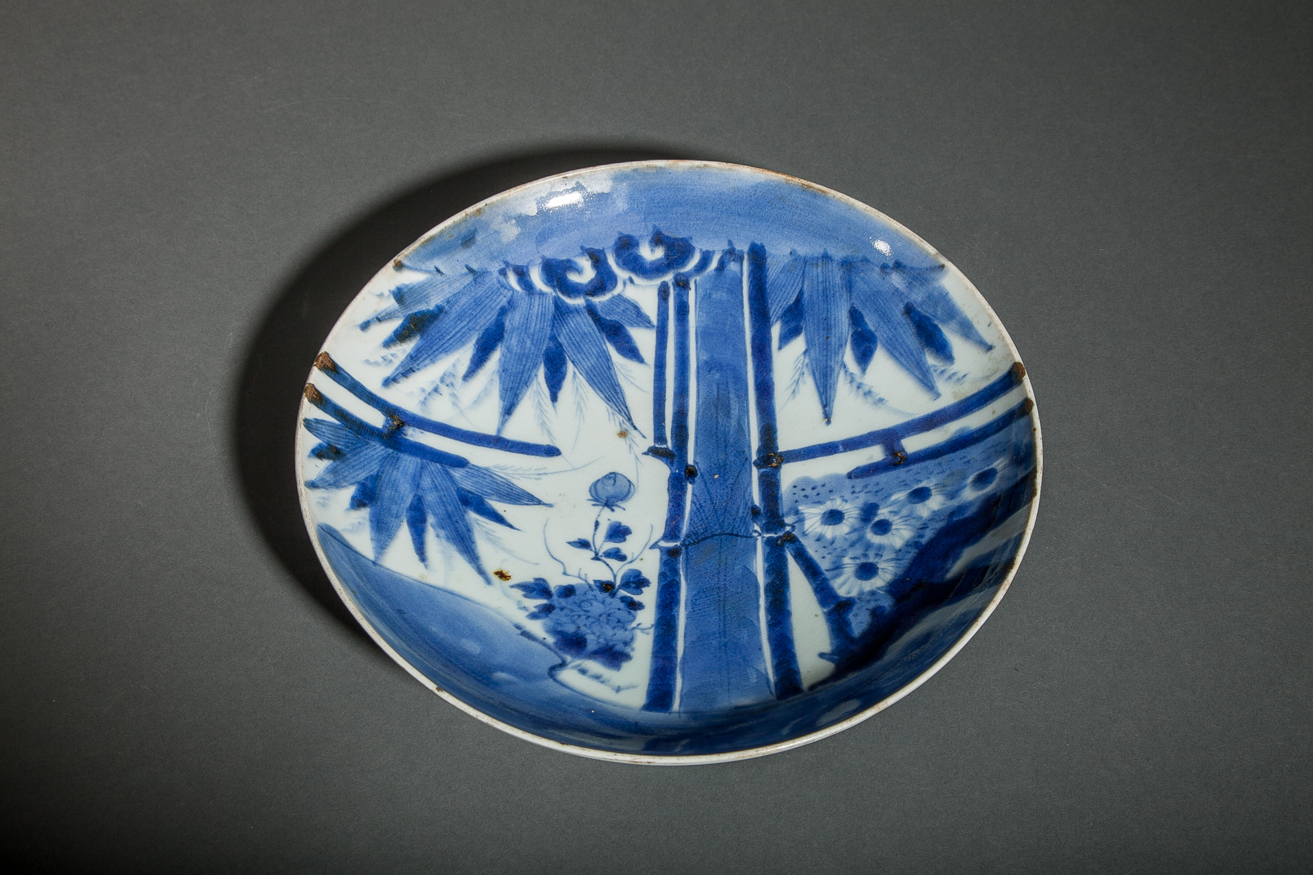 Japanese Blue and White Imari Plate with Bamboo Design
