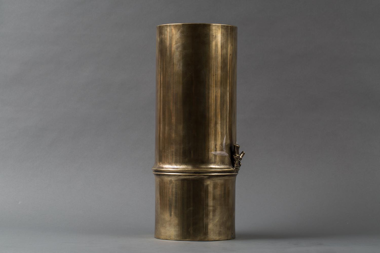 Japanese Bronze Flower Vase in Shape of Bamboo Branch