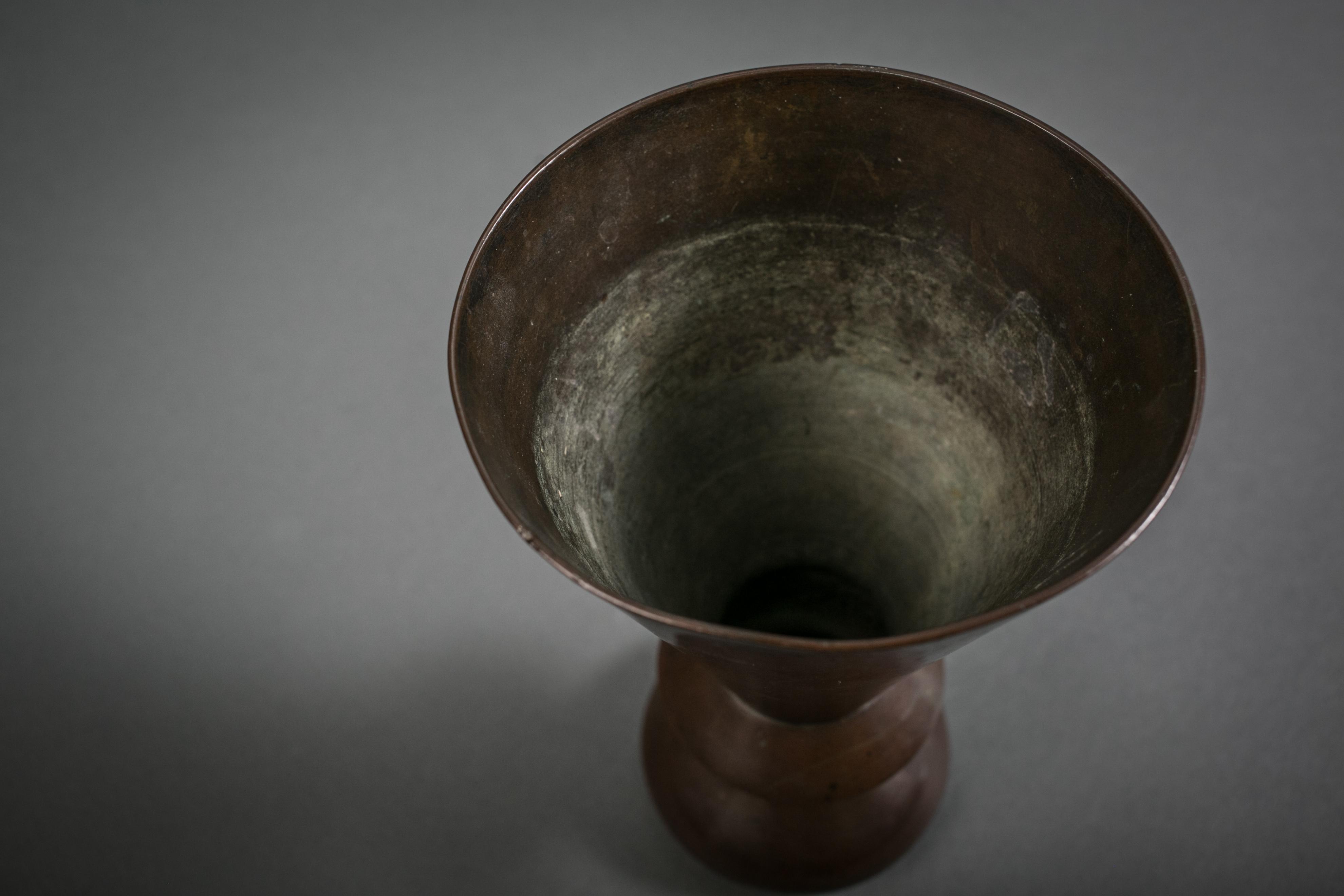 Japanese Bronze Geometric Shaped Vase