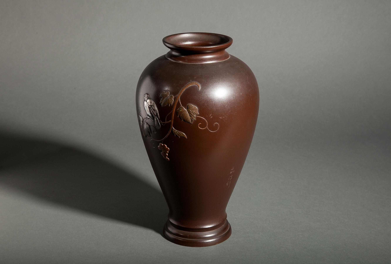 Japanese Bronze Vase with Finch on Grape Vine