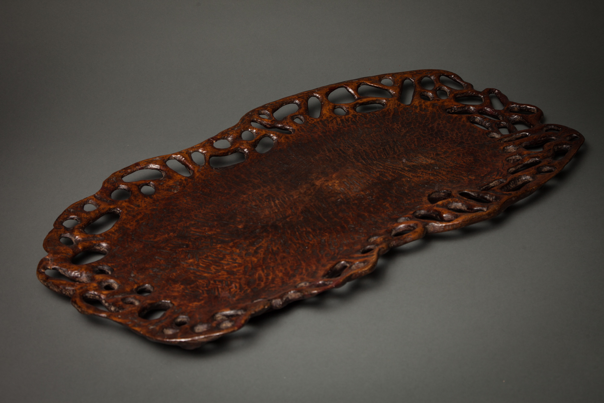 Japanese Carved Wooden Tray with Open Wood Border