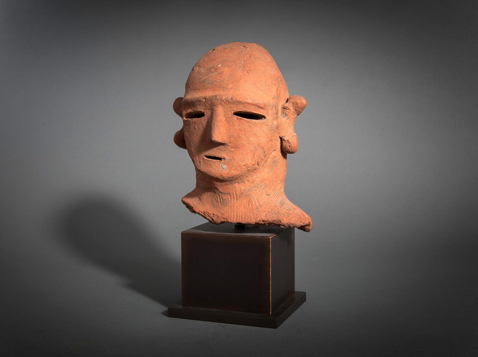 Japanese Haniwa Terracotta Head of a Warrior