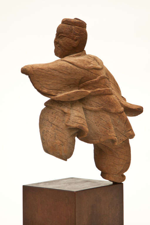 Japanese Kamakura Wood Carving of a Martial Arts Figure