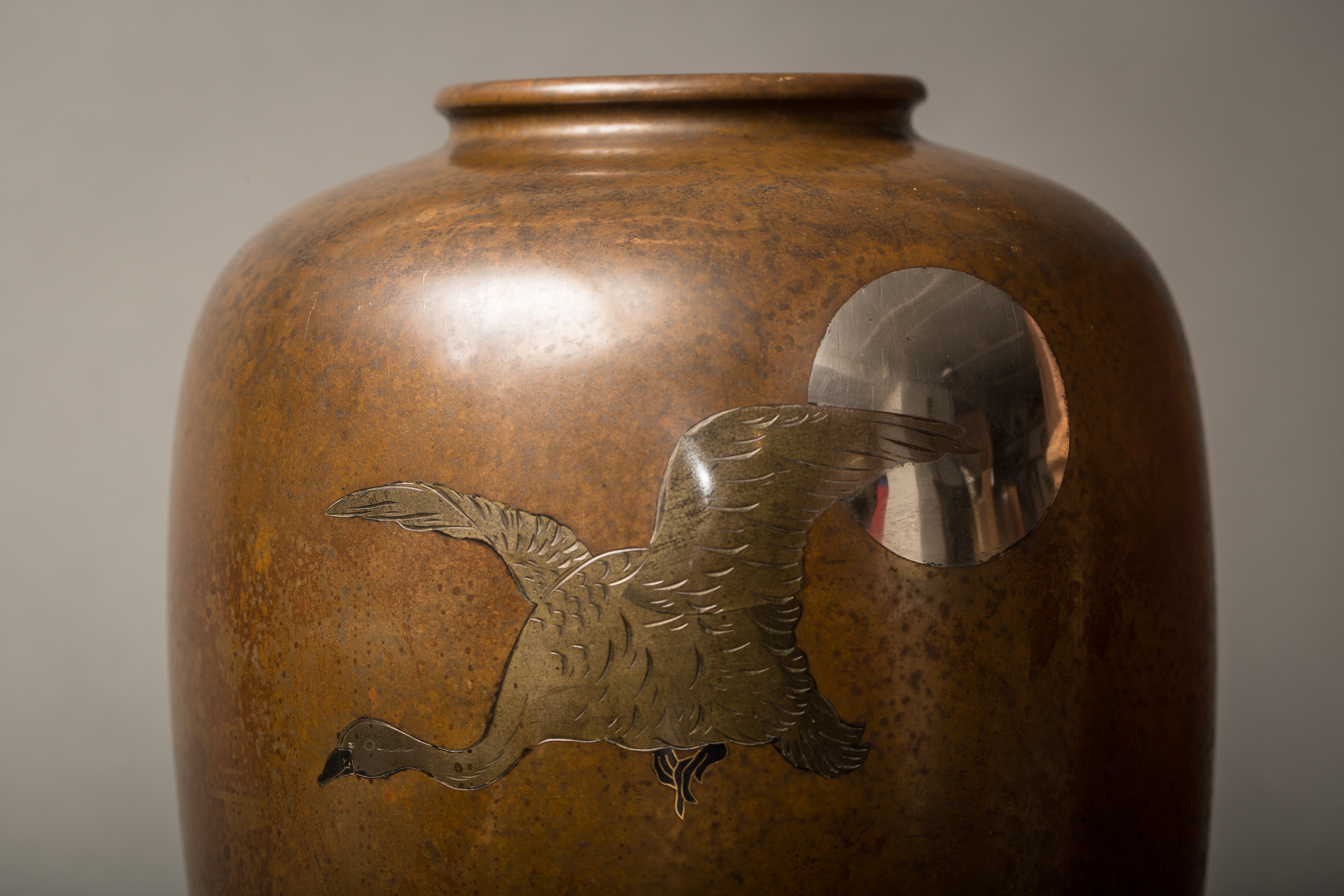 Japanese Meiji Bronze Takaoka Vase With Waterfowl and Moon Design