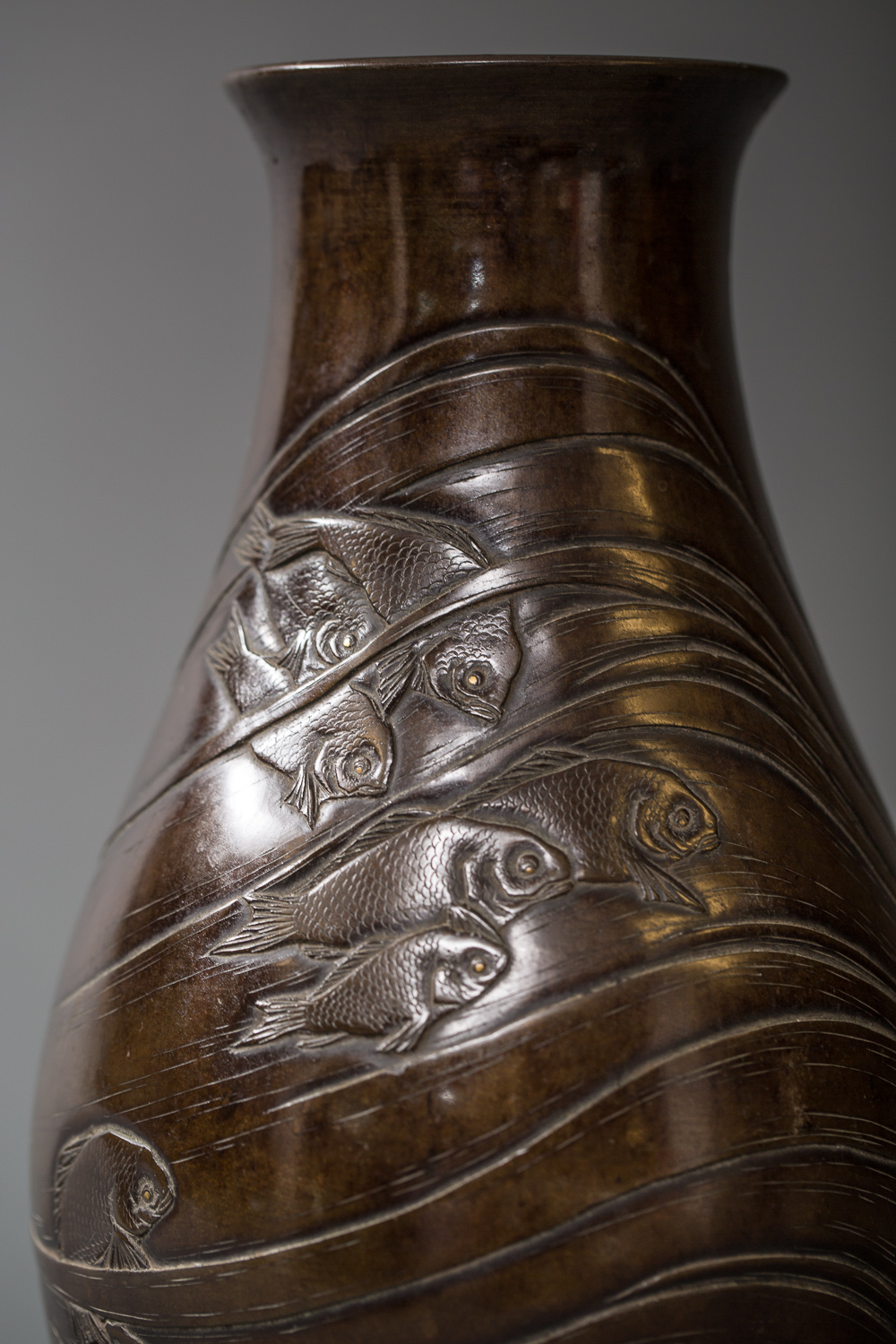 Japanese Meiji Period Bronze Vase with Swimming Fish