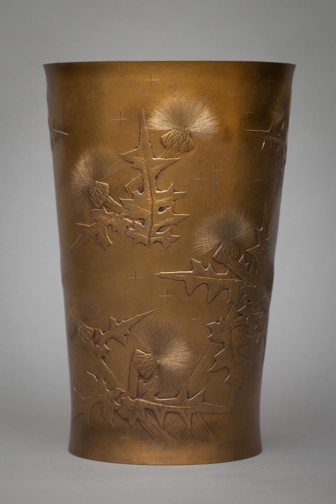 Japanese Mid Century Gilt Bronze Vase with Thistle Design