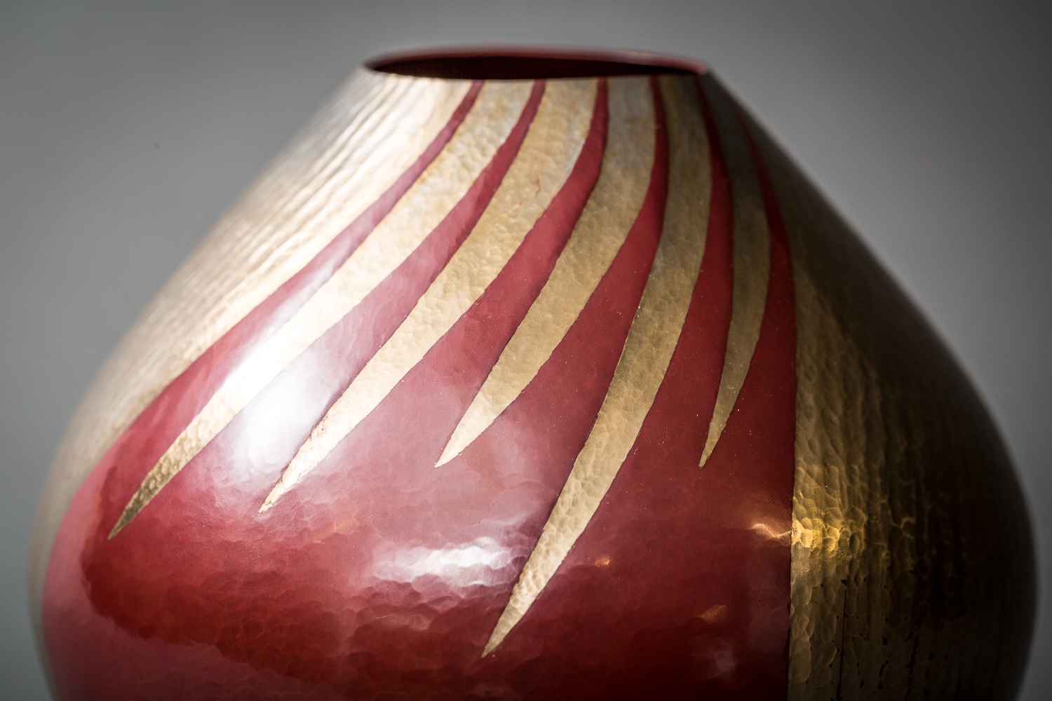 Japanese Modern, Showa Period, Brilliant Red and Silver Bronze Vase