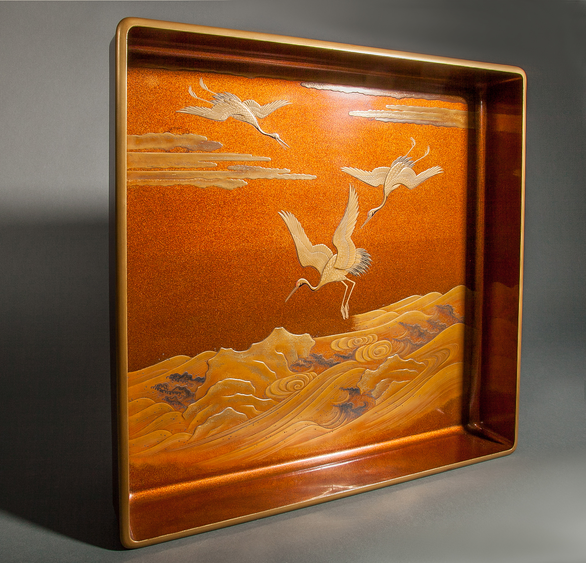 Japanese Nashiji Lacquer Tray With Crane and Wave Design