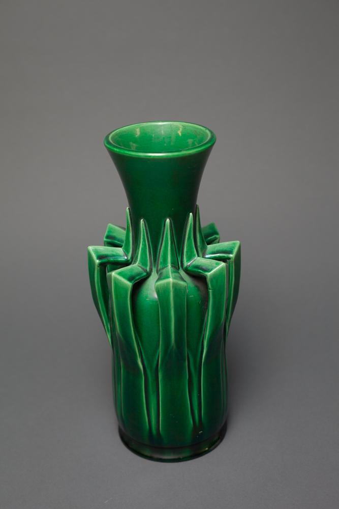 Japanese Very Unusual Awaji Ware Green Vase