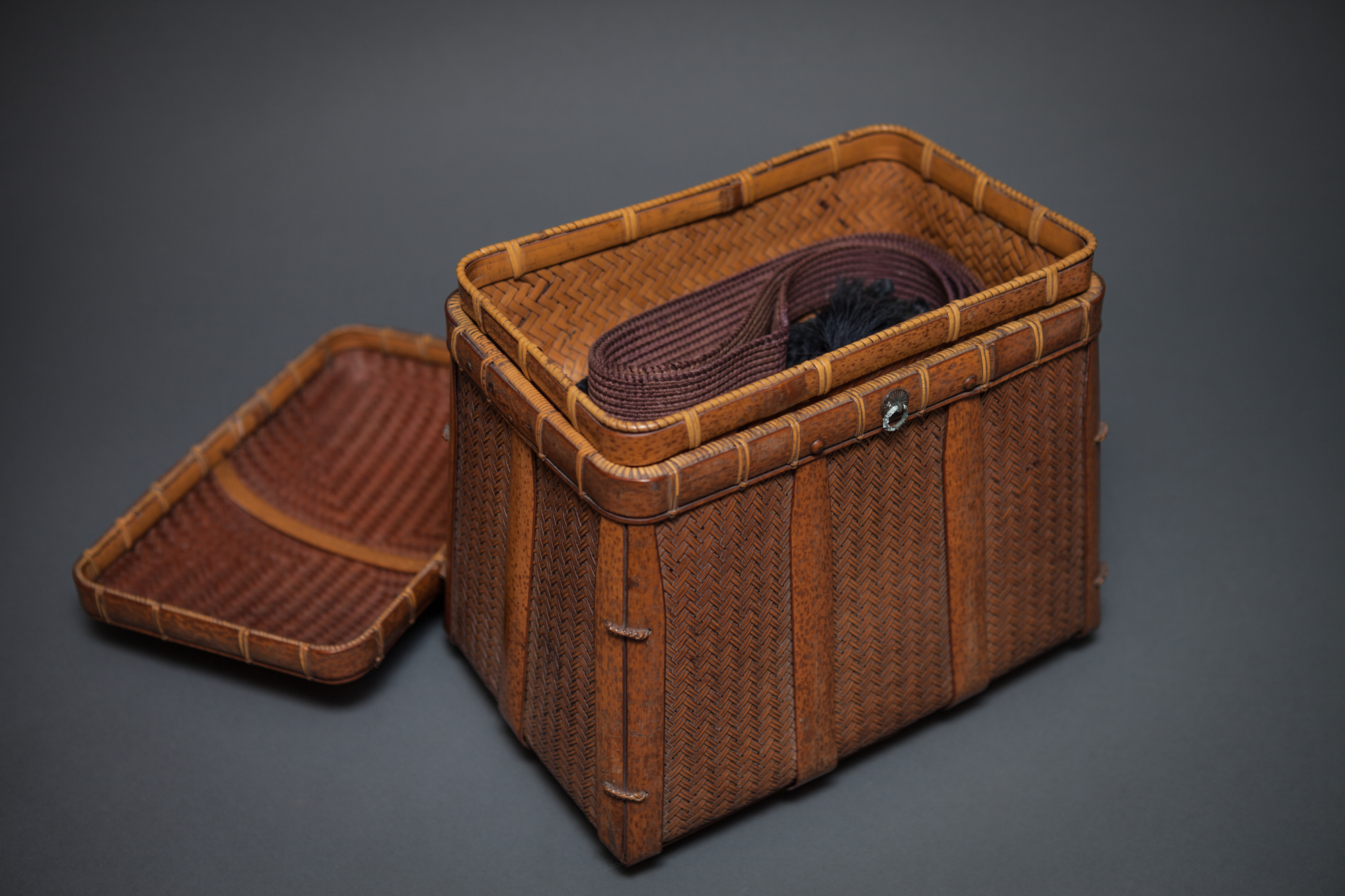 Japanese Woven Bamboo Sewing Basket