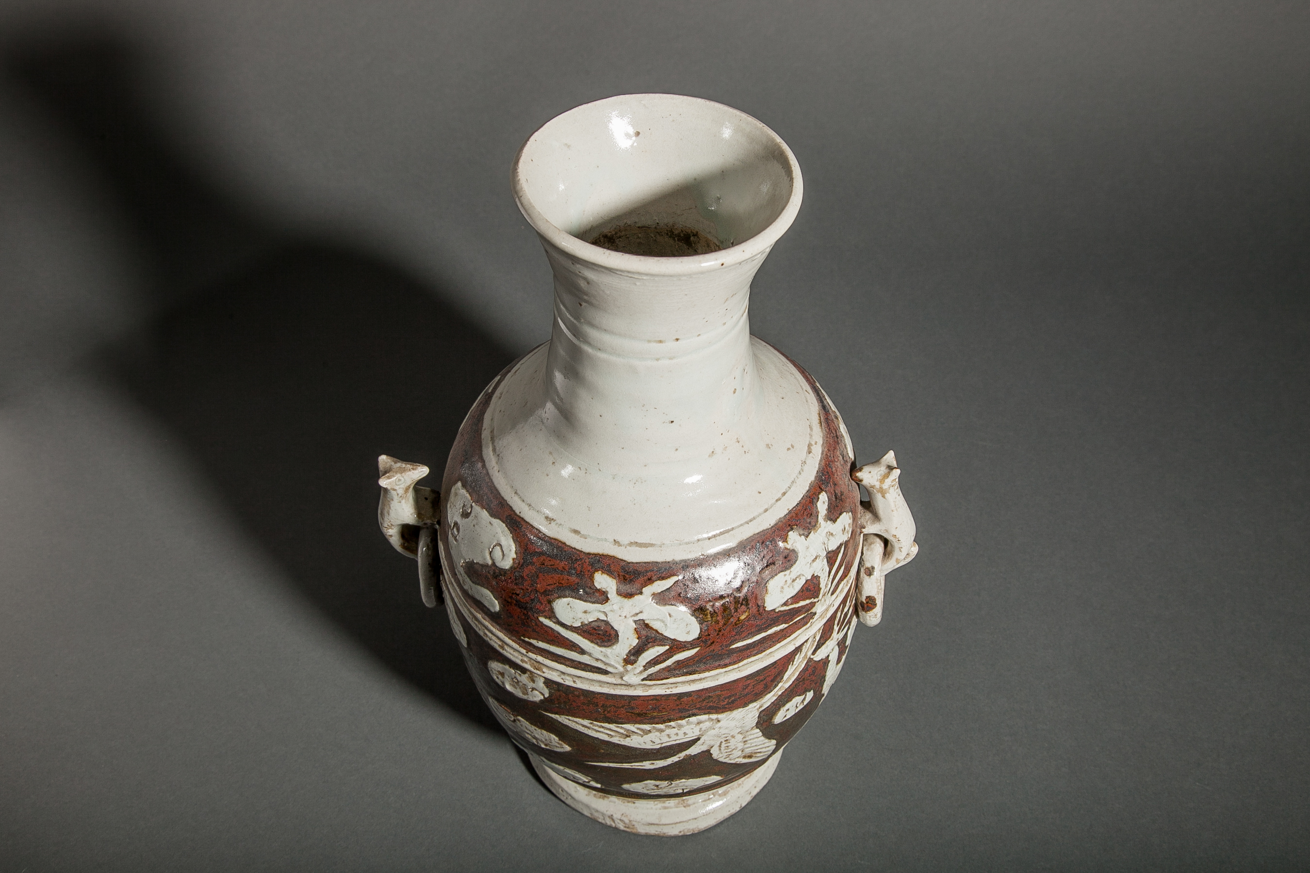 Korean Antique White and Iron Glaze Vase
