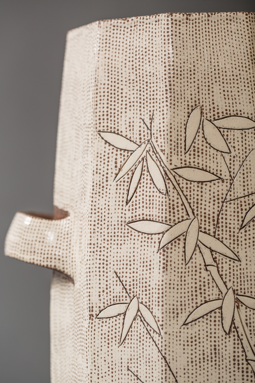 Korean White Vase with Bamboo Design