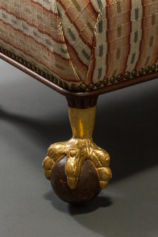 Mahogany and Parcel-Gilt Footstool