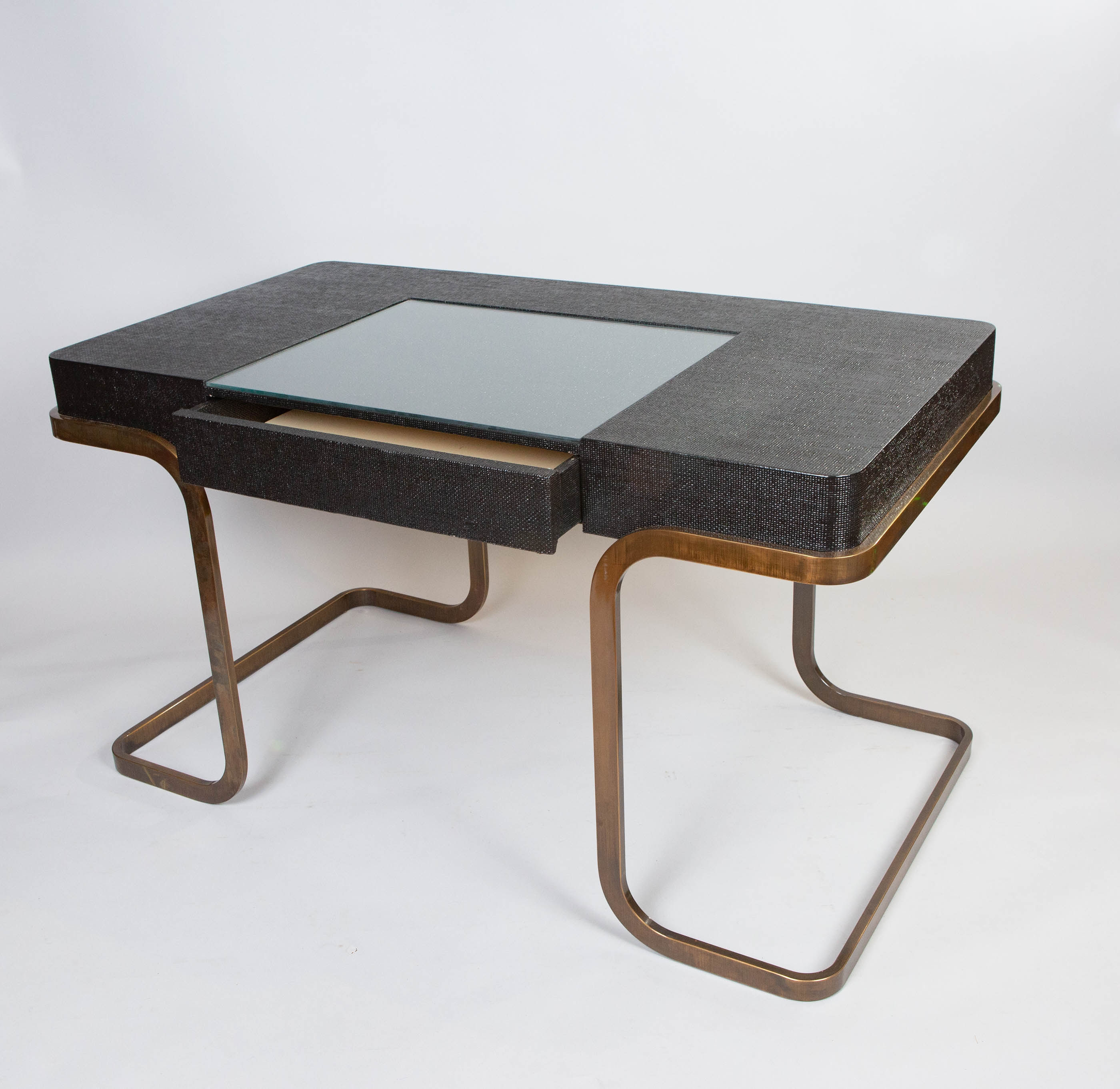 Milo Baughman Chrome and Lacquered Raffia Desk